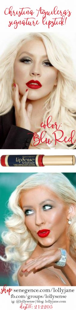 Shop Christina Aguilera's signature red lipstick!! We LOVE this Blu Red LipSense color! shop: sengence.com/lollyjane | dist#: 212205