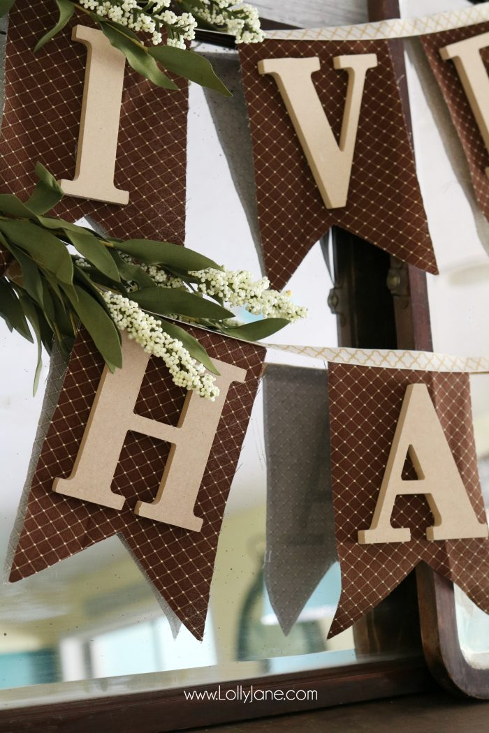 Fabric and Wood Give Thanks bunting tutorial   Make this easy fall bunting, cute Thanksgiving decor idea! Love this easy DIY bunting!