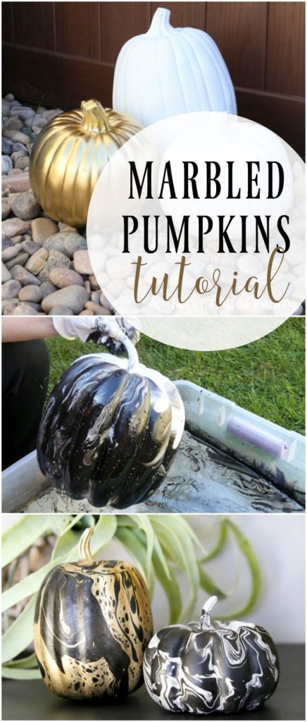DIY Marble Pumpkins, fun Halloween decor to make with the kids!