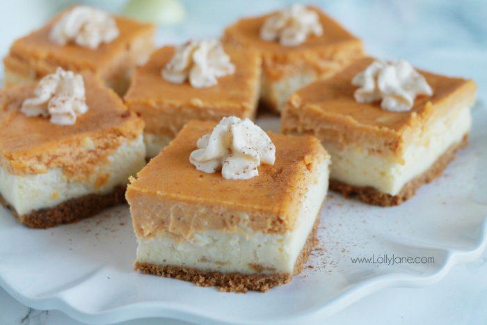 Pumpkin Cheesecake Bars recipe. These pumpkin spice cheesecake bars are so yummy! Full of pumpkin pie spice flavor. Easy fall recipe dessert. Love this baked cheesecake recipe, yum!