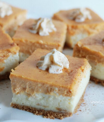Pumpkin Cheesecake Bars recipe. These pumpkin spice cheesecake bars are so yummy! Full of pumpkin pie spice flavor. Easy fall recipe dessert. Love this baked cheesecake recipe, yum!