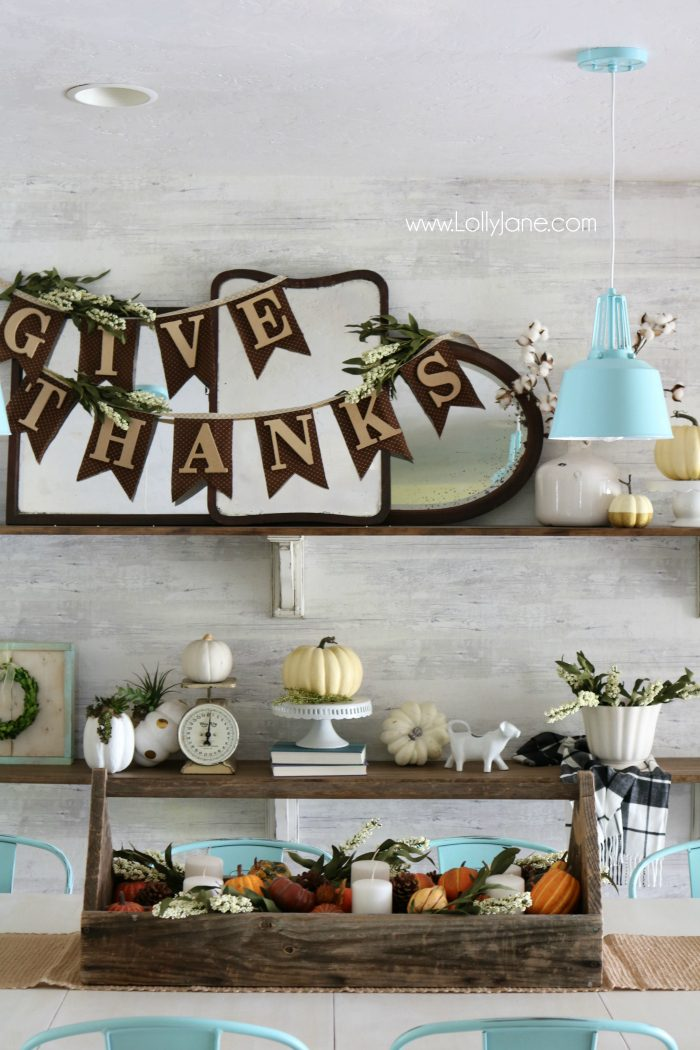 Thanksgiving farmhouse shelves. Love these neutral, fall decor shelves. Easy Thanksgiving mantel decor ideas.