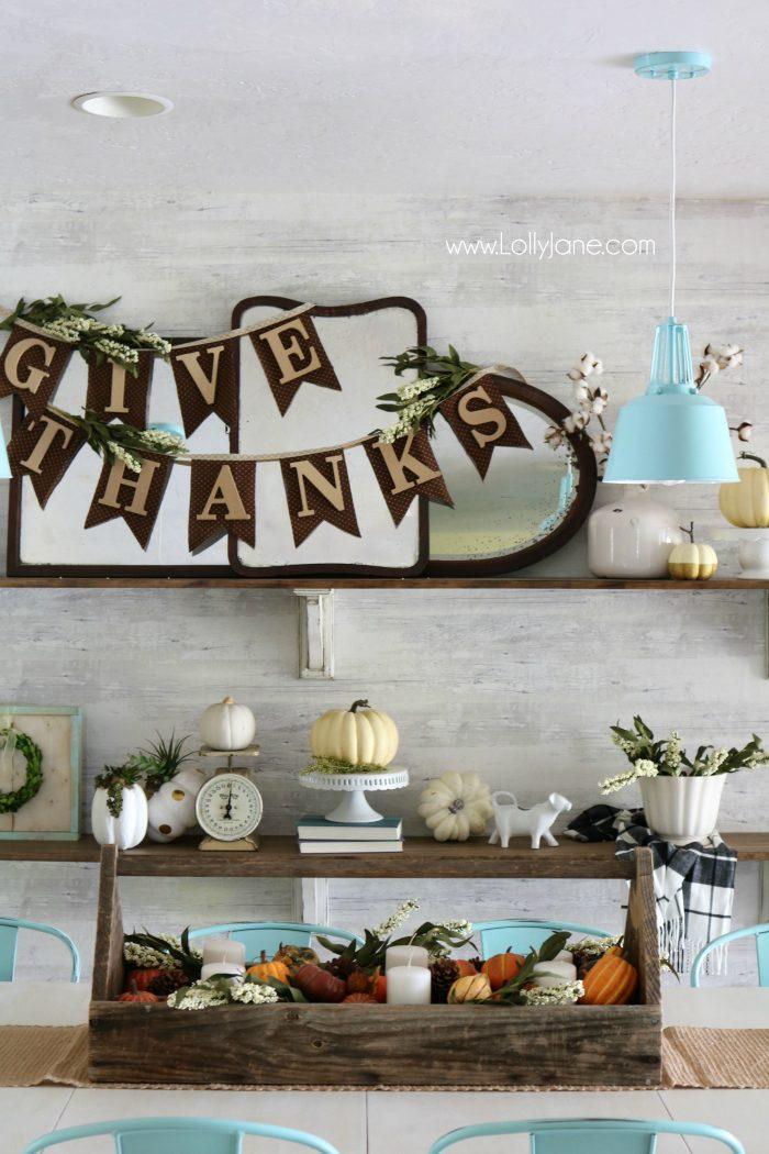 Thanksgiving farmhouse shelves. Love these neutral, fall decor shelves. Easy Thanksgiving mantel decor ideas.