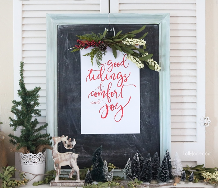 Christmas vignette with free printable