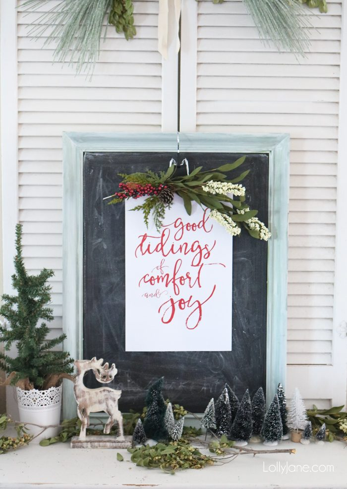 "FREE ""Good Tidings of Comfort and Joy"" printable, perfect to frame or turn into a greeting card for the holidays! Merry Christmas!"