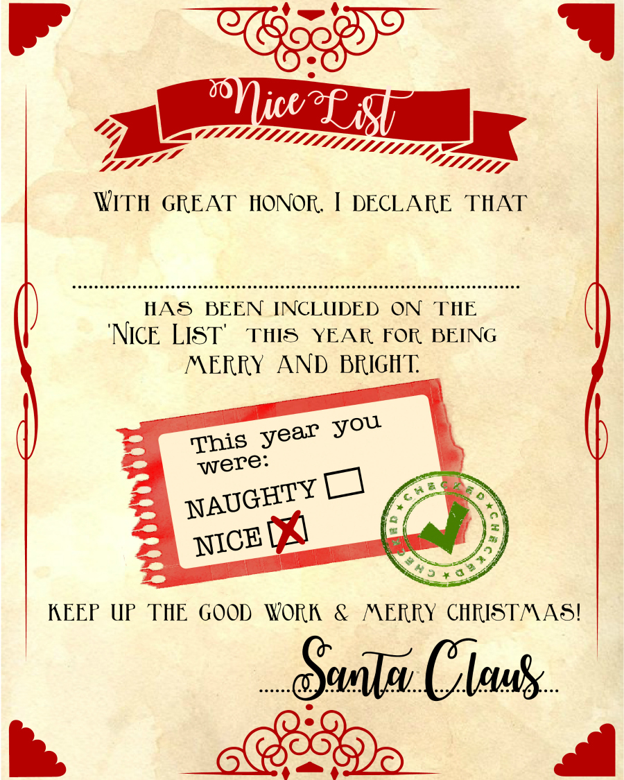 CUTE!! Kids will love this FREE printable naughty-or-nice list you can fill out from Santa! Ho Ho Ho!