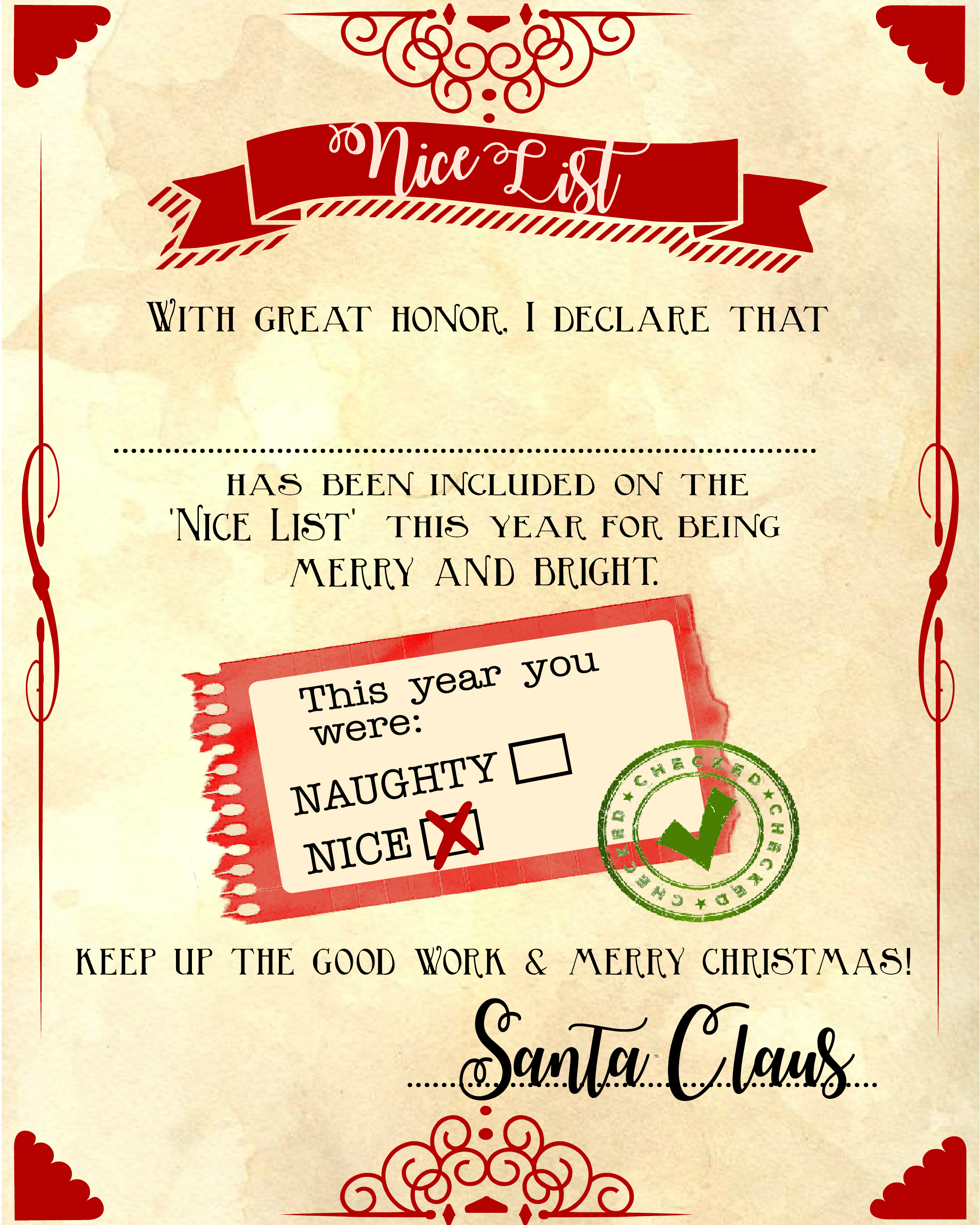Santa Quot Nice List Quot Free Printable Certificate