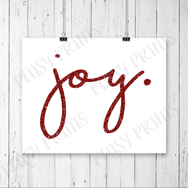 Lovely JOY Christmas Card! via PeasyPrints.Etsy.com