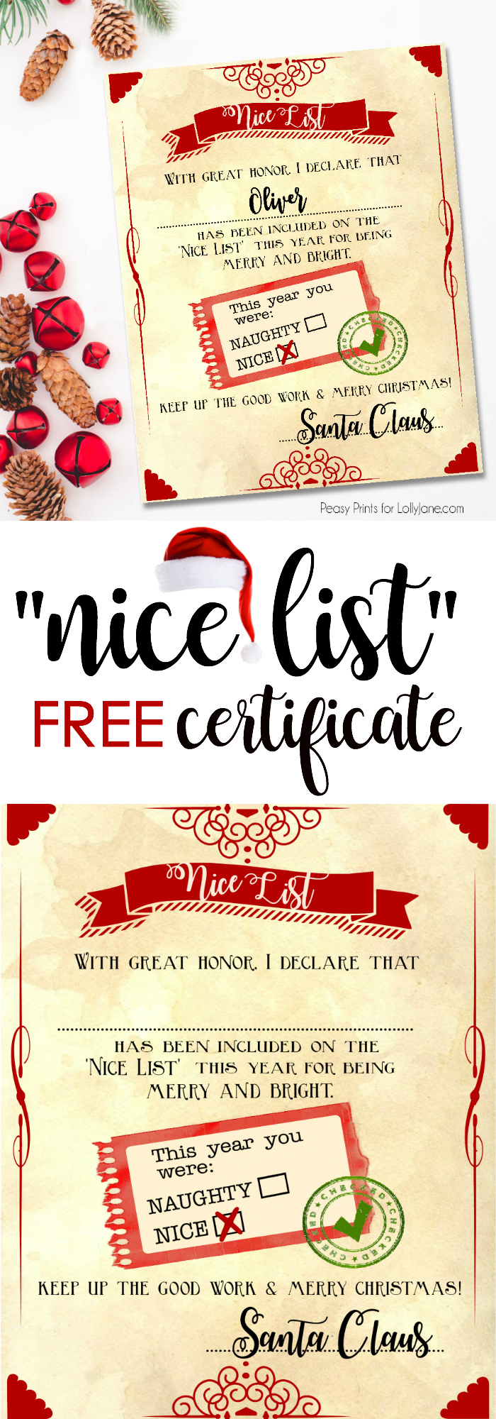 Santa nice list free printable certificate kids will love this free printable naughty or nice list you yelopaper Images