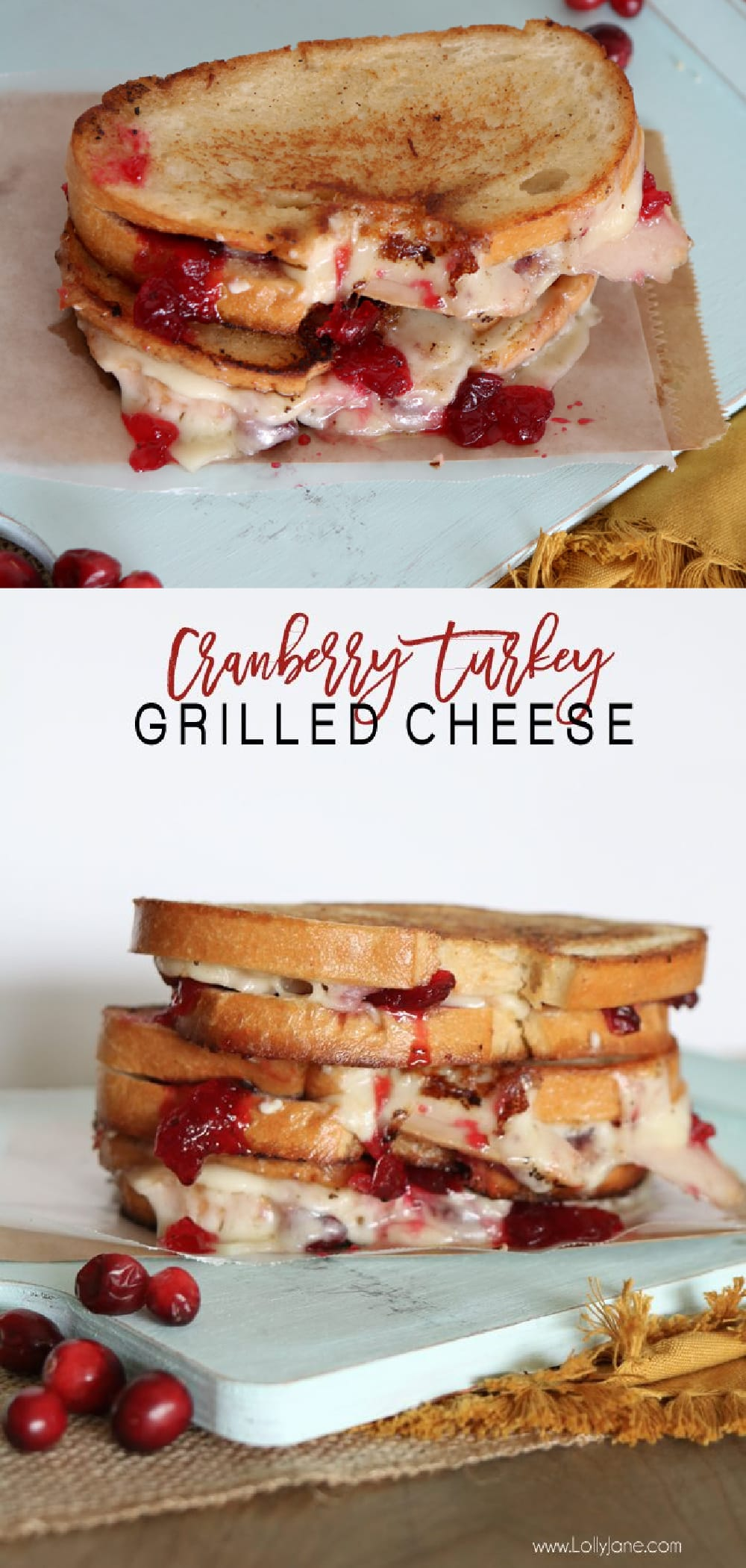 Melt-in-your-mouth Cranberry Turkey Grilled Cheese Sandwich, great way to use Thanksgiving leftovers! #cranberryturkey #turkeysandwich #thankgivingleftovers #thanksgivinglunch #lunchideas #sandwich #sandwichrecipe