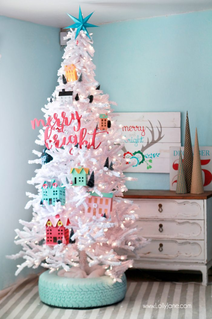 Recycled Tire Christmas Tree Base, love this village tree!