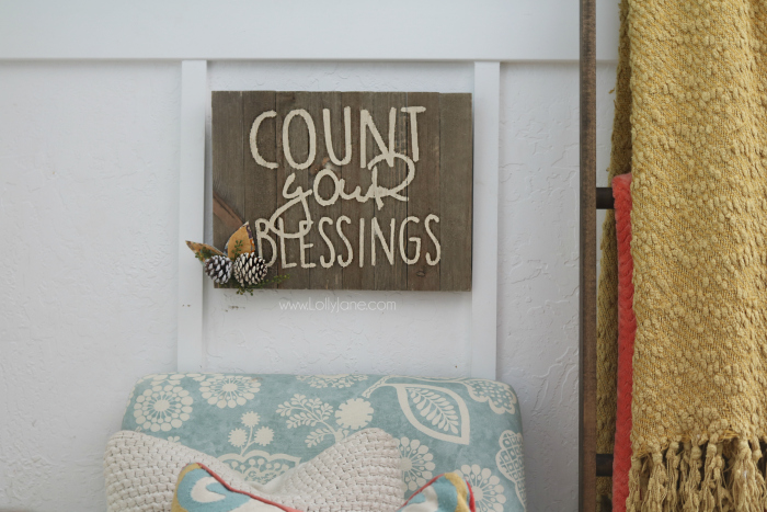 Count Your Blessings DIY sign tutorial. Such an easy way to make a sign, free stencil cut file included.
