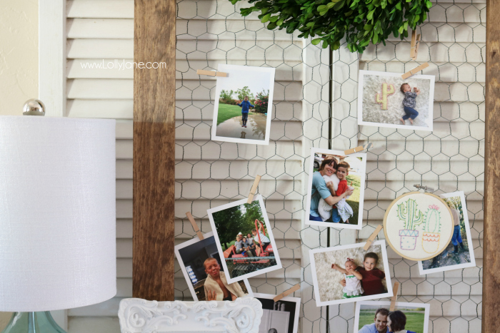 Love this easy to build rustic photo display. Such a cute way to share pictures! Cute chicken wire frame idea to display pictures!