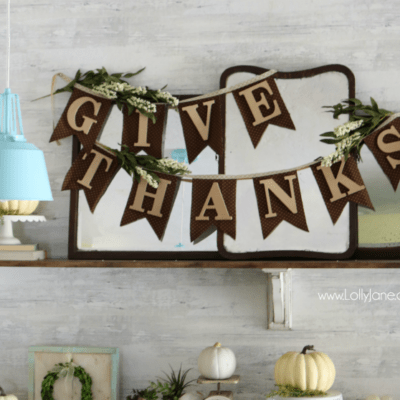 fabric wood give thanks bunting