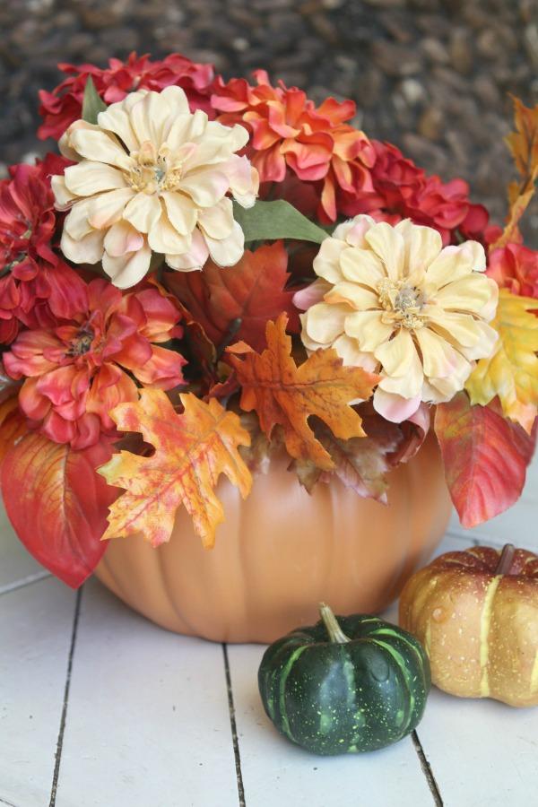 Pretty floral pumpkin vase!