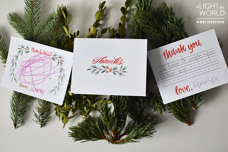Gratitude Thank You card set. Love this darling free printable thank you card set! Such a cute way to show others you're grateful for them! #LightTheWorld