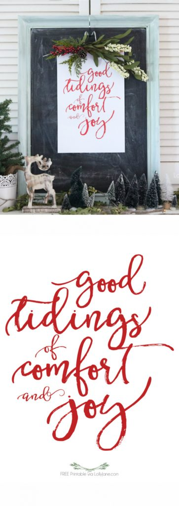 """FREE """"Good Tidings of Comfort and Joy"""" printable, perfect to frame or turn into a greeting card for the holidays! Merry Christmas!"""