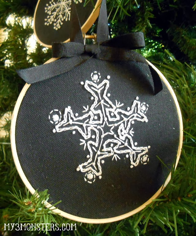 Fun stitched snowflak embroidery hoop ornament!