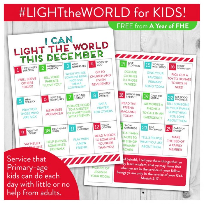 25 days 25 ways | Easy ways for kids to serve this Christmas season #LightTheWorld