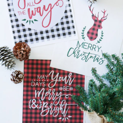 Grab this plaid Christmas printable three pack on LollyJane.com