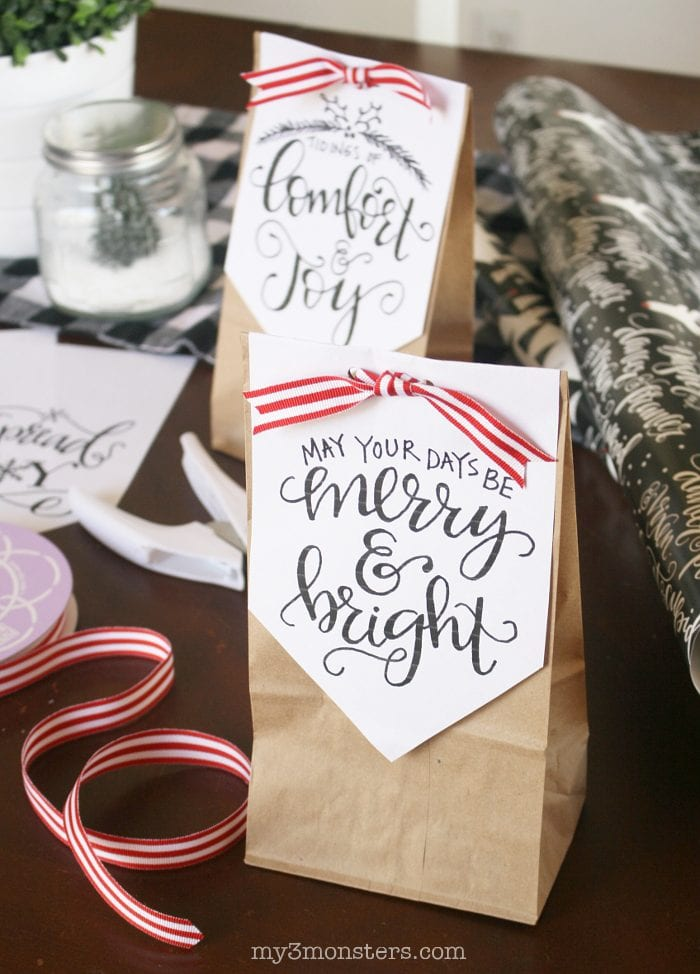 Handlettered Holiday Treat Bags Lolly Jane