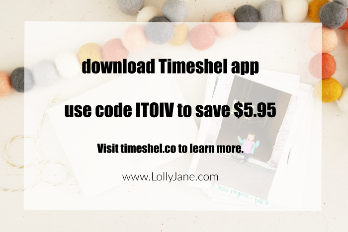 Love the Timeshel app, a monthly photo subscription so pics arrive at your door. Use code ITOIV to save $5.95!