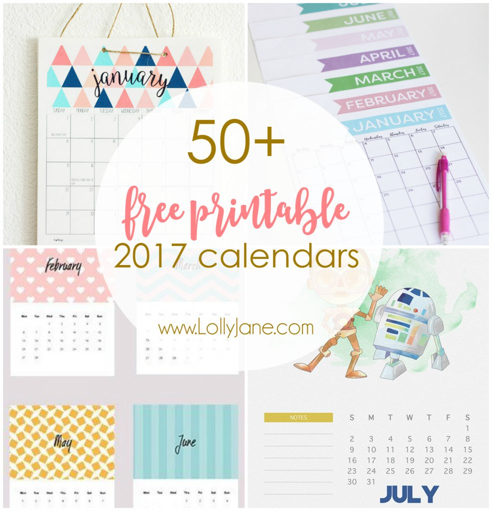 50 2017 free printable calendars lolly jane also be sure to check out our nye party hat tutorial with free clock printable or our new years party in a box idea to get ready to ring in 2017 solutioingenieria Image collections