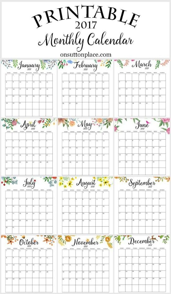 image relating to Calendars Free Printable referred to as 50+ 2017 Free of charge printable calendars - Lolly Jane