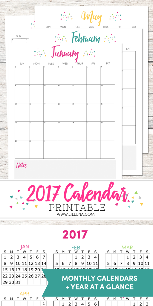50+ 2017 FREE printable calendars - Lolly Jane