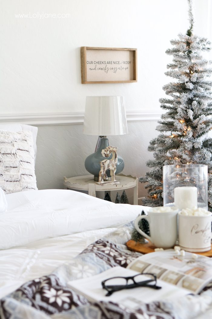 Cozy Christmas Master Bedroom... click to see the rest of the space decked out in a winter wonderland!