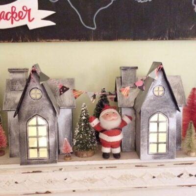 diy faux zinc Christmas village houses