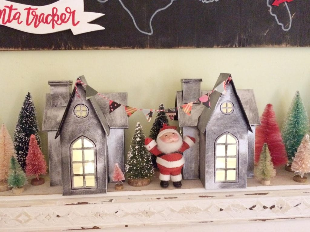 diy faux zinc Christmas village houses