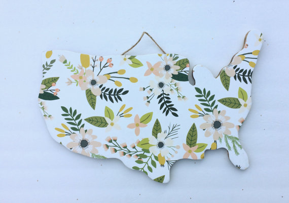 Floral USA Wood Cut out, so dang cute!!
