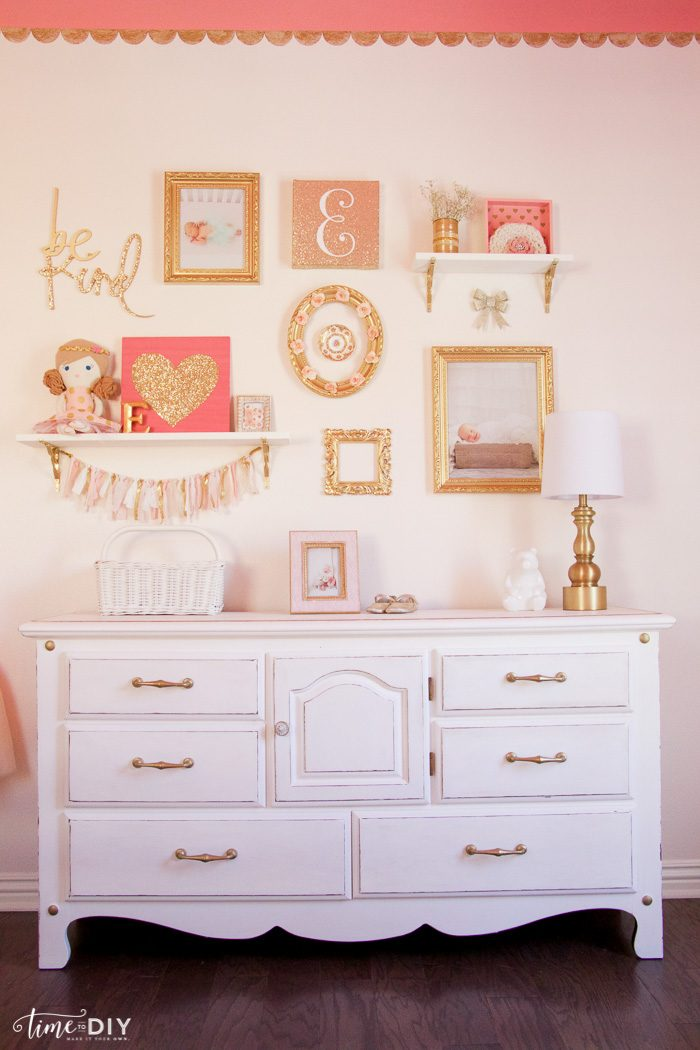 How to create and hang a cute gallery wall, perfect for a girls room or nursery!