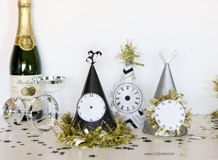 Paint dollar store party hats for EASY and cheap glam New Years Eve party gear! Cute!