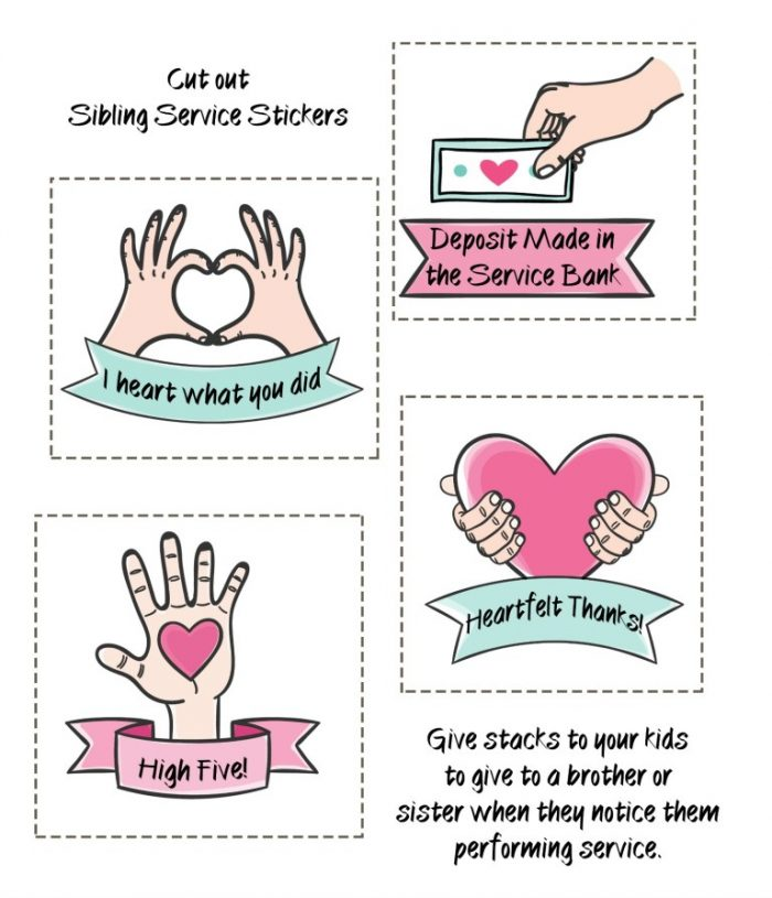 Reward your kids for acts of kindness done for their siblings, these cute stickers encourage service!