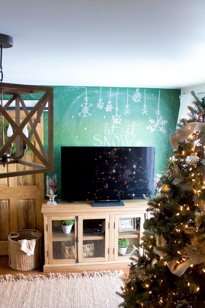 Farmhouse Winter Chalkboard Wall tutorial, so cute and easy to copy!