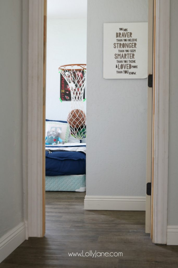 Love these vinyl floors from @GoHaus. They look great in my farmhouse style home! Adore this little boy bedroom flooring too.