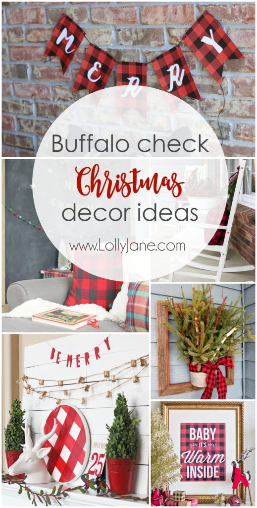 please pin so your friends can enjoy too - Buffalo Check Christmas Decor