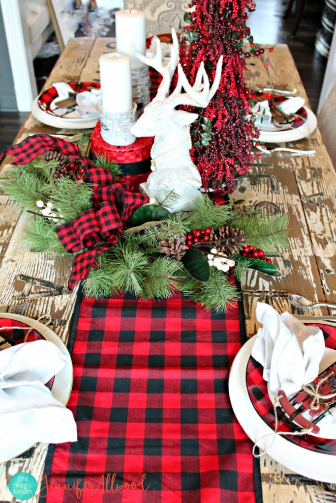 buffalo check christmas mantel landeelu - Plaid Christmas Decor