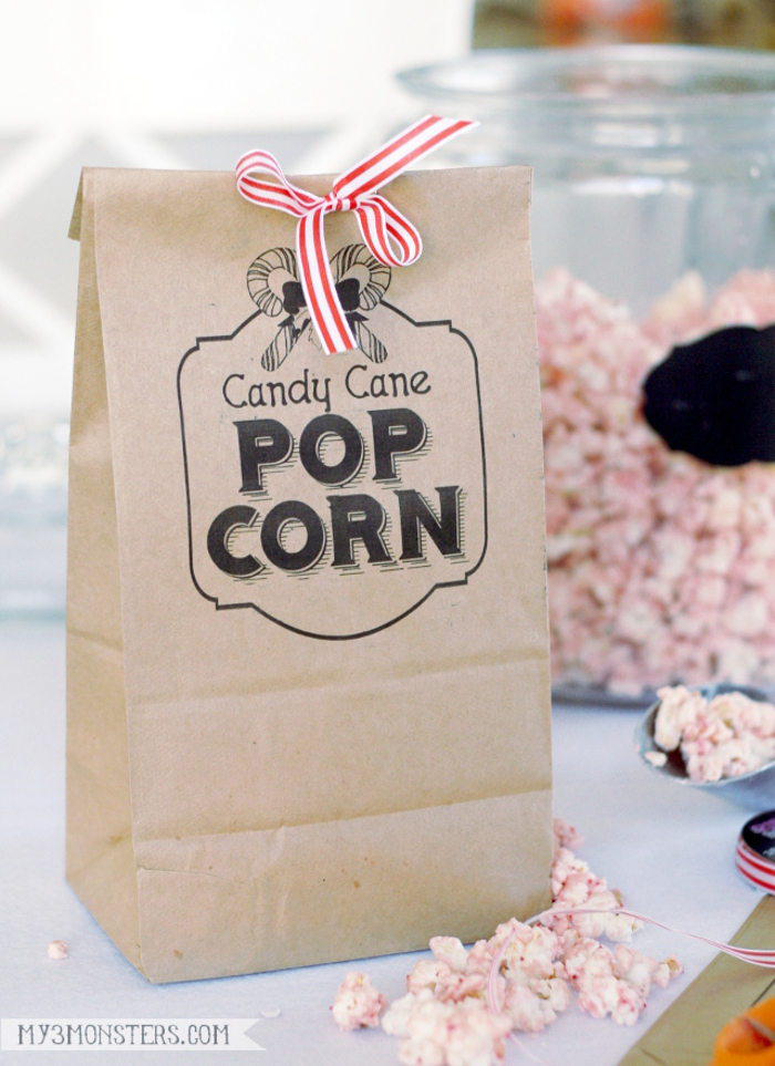 Such a cute freebie Candy Cane Popcorn file to print on bags!