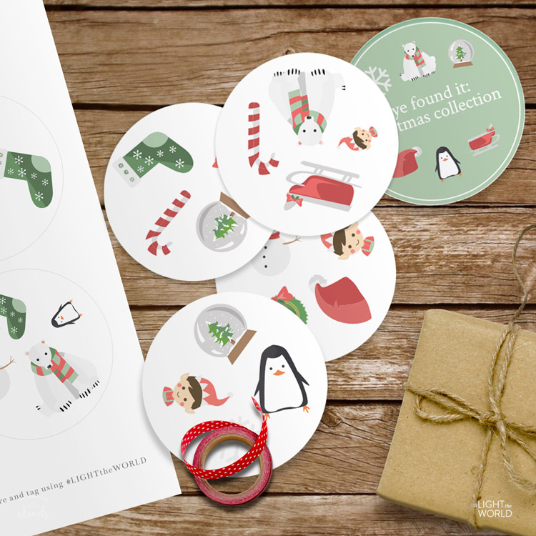 Cute Christmas printable game! Love this famliy Christmas printable kit from Kiwi in the Clouds! #LightTheWorld