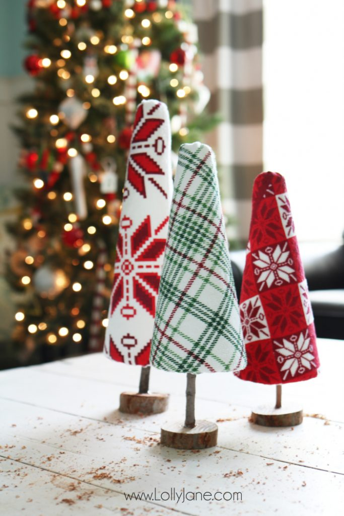 diy ugly sweater trees craft Lolly Jane