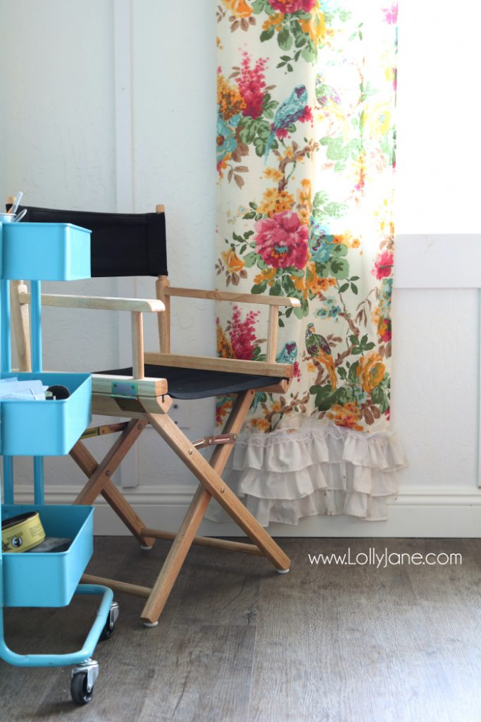 Love these vinyl floors from @GoHaus. They look great in my farmhouse style home! Adore this colorful craft room with neutral and durable floors.