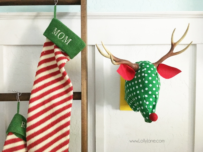 Fabric Reindeer Head wall art. Such a fun way to use Waverly fabric during the holidays!
