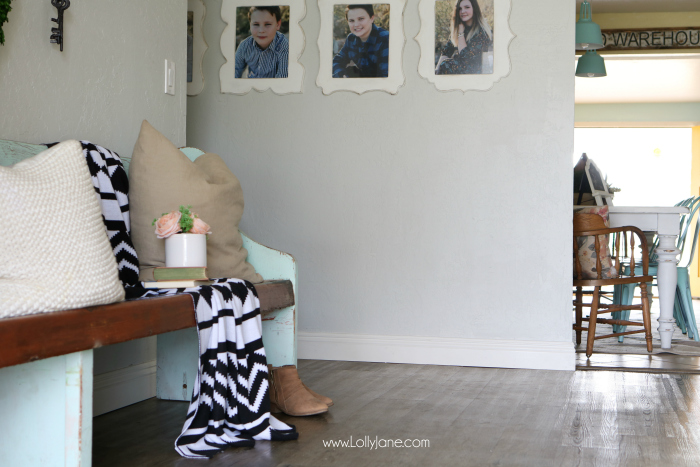 Love these vinyl floors from @GoHaus. They look great in my farmhouse style home! Adore this entryway wall decor too.