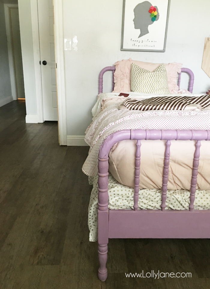 Love these vinyl floors from @GoHaus. They look great in my farmhouse style home! Adore this little girl bedroom flooring too.