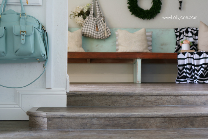 Love these vinyl floors from @GoHaus. They look great in my farmhouse style home! Adore this farmhouse entrway.