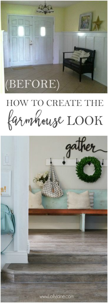 How to get the farmhouse look! Here's how I affordably achieved that much desired farmhouse decor style, love it!