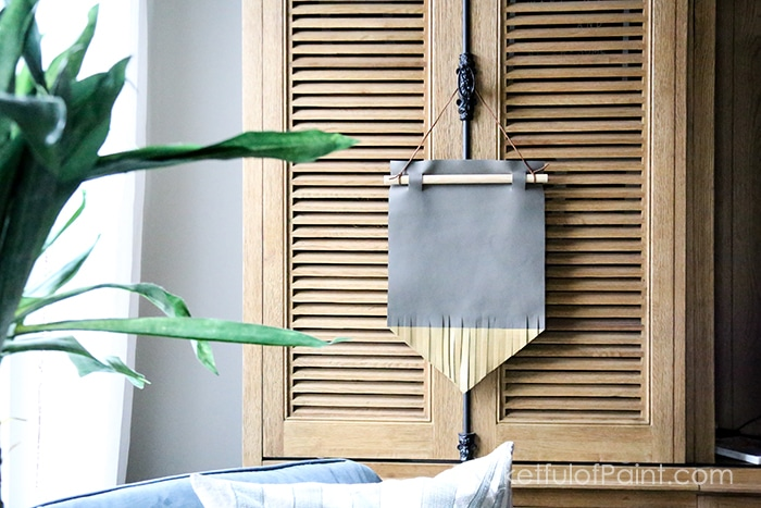 DIY leather wall hanging, easy tutorial for this pretty wall decor idea!
